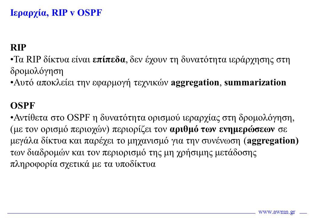 www.awmn.gr Iεραρχία, RIP v OSPF RIP •Τα RIP δίκτυα είναι επίπεδα, δεν έχουν τη δυνατότητα ιεράρχησης στη δρομολόγηση •Αυτό αποκλείει την εφαρμογή τεχ