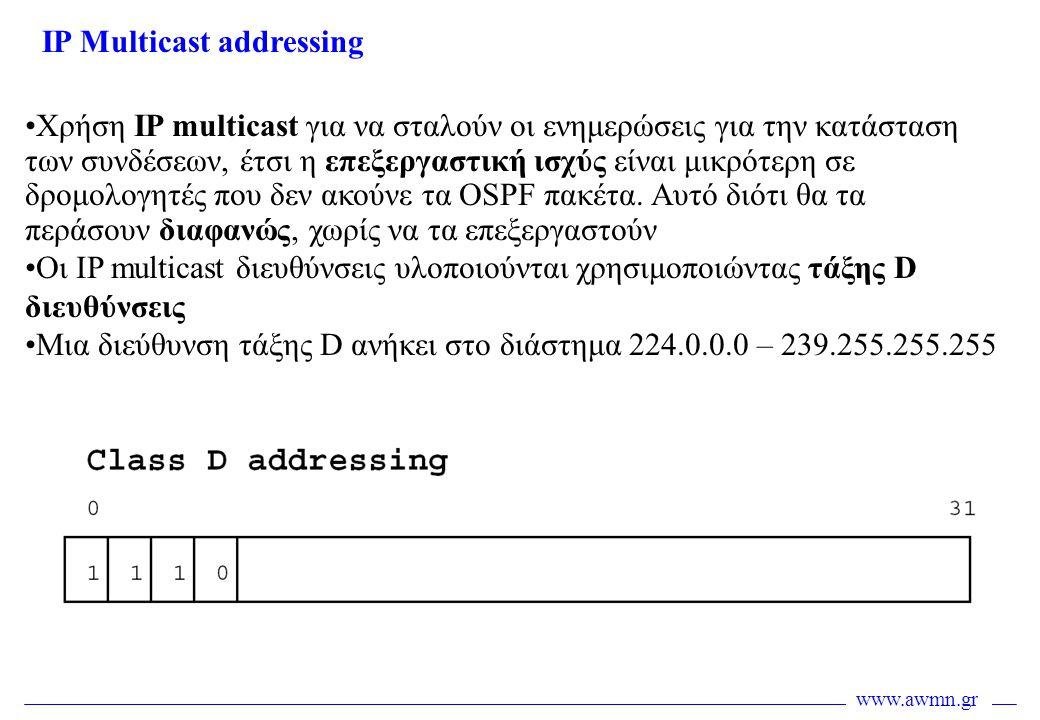 www.awmn.gr •Χρήση IP multicast για να σταλούν οι ενημερώσεις για την κατάσταση των συνδέσεων, έτσι η επεξεργαστική ισχύς είναι μικρότερη σε δρομολογη