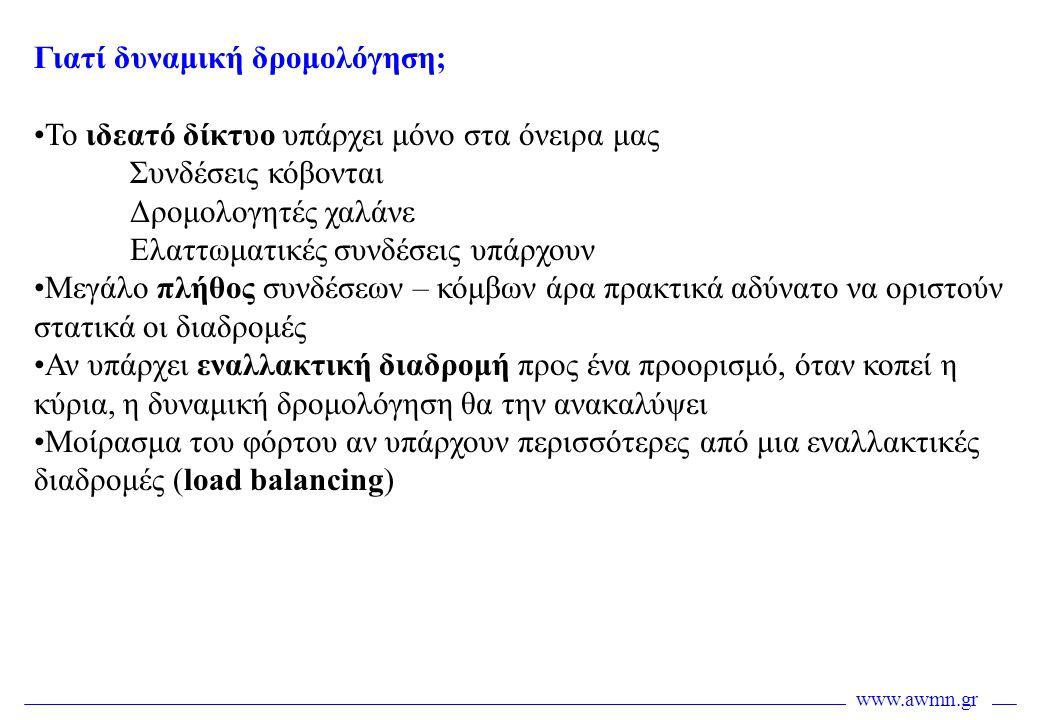 www.awmn.gr Αναζήτηση γειτόνων •Αφορά την εύρεση των γειτονικών δρομολογητών •Γίνεται με την ανταλλαγή Hello μηνυμάτων •H διαδικασία περιγράφεται στο Hello πρωτόκολλο