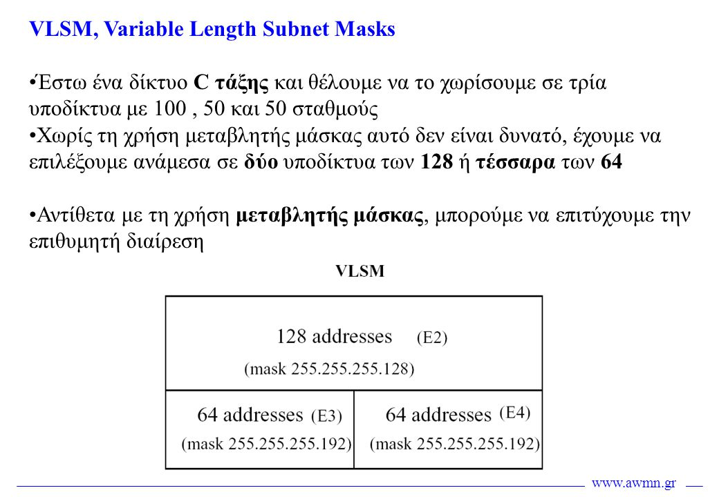 www.awmn.gr VLSM, Variable Length Subnet Masks •Έστω ένα δίκτυο C τάξης και θέλουμε να το χωρίσουμε σε τρία υποδίκτυα με 100, 50 και 50 σταθμούς •Χωρί