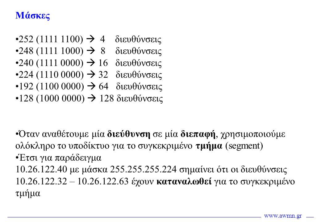 www.awmn.gr Μάσκες •252 (1111 1100)  4 διευθύνσεις •248 (1111 1000)  8 διευθύνσεις •240 (1111 0000)  16 διευθύνσεις •224 (1110 0000)  32 διευθύνσε