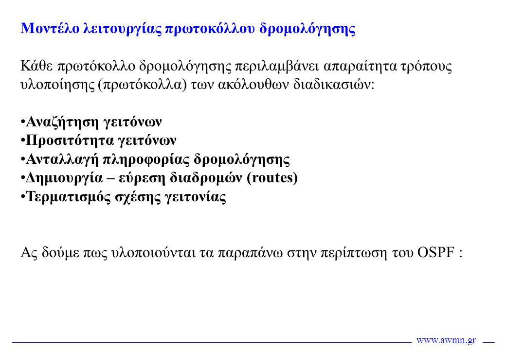 Μοντέλο λειτουργίας πρωτοκόλλου δρομολόγησης Κάθε πρωτόκολλο δρομολόγησης περιλαμβάνει απαραίτητα τρόπους υλοποίησης (πρωτόκολλα) των ακόλουθων διαδικ