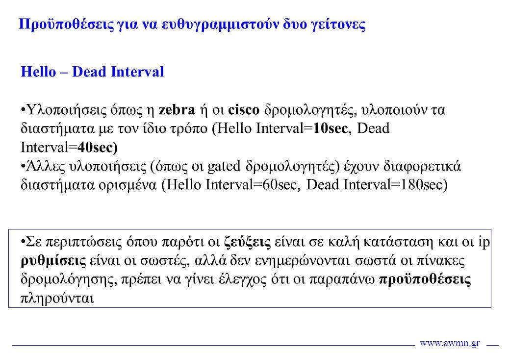www.awmn.gr Hello – Dead Interval •Υλοποιήσεις όπως η zebra ή οι cisco δρομολογητές, υλοποιούν τα διαστήματα με τον ίδιο τρόπο (Hello Interval=10sec,