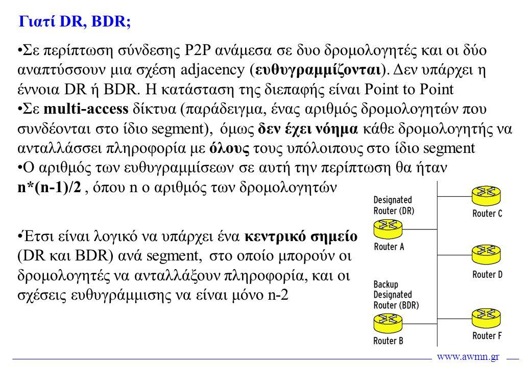 www.awmn.gr •Σε περίπτωση σύνδεσης P2P ανάμεσα σε δυο δρομολογητές και οι δύο αναπτύσσουν μια σχέση adjacency (ευθυγραμμίζονται). Δεν υπάρχει η έννοια