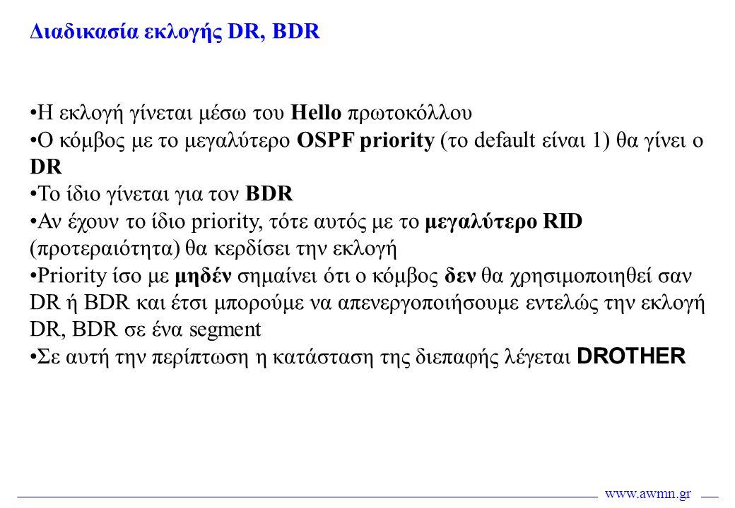 www.awmn.gr Διαδικασία εκλογής DR, BDR •Η εκλογή γίνεται μέσω του Hello πρωτοκόλλου •Ο κόμβος με το μεγαλύτερο OSPF priority (το default είναι 1) θα γ