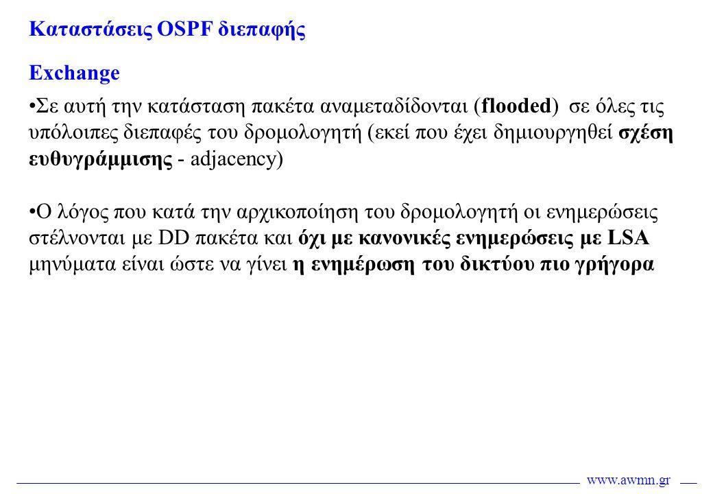 www.awmn.gr Exchange •Σε αυτή την κατάσταση πακέτα αναμεταδίδονται (flooded) σε όλες τις υπόλοιπες διεπαφές του δρομολογητή (εκεί που έχει δημιουργηθε