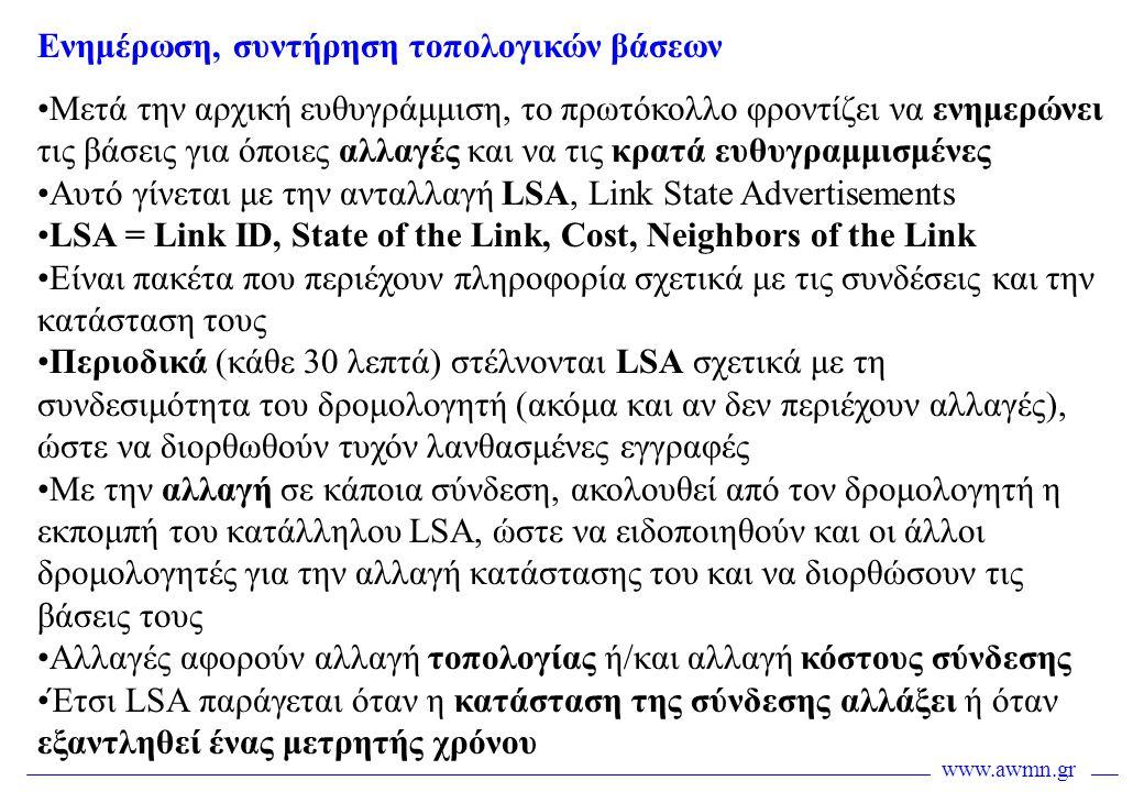 www.awmn.gr •Μετά την αρχική ευθυγράμμιση, το πρωτόκολλο φροντίζει να ενημερώνει τις βάσεις για όποιες αλλαγές και να τις κρατά ευθυγραμμισμένες •Αυτό