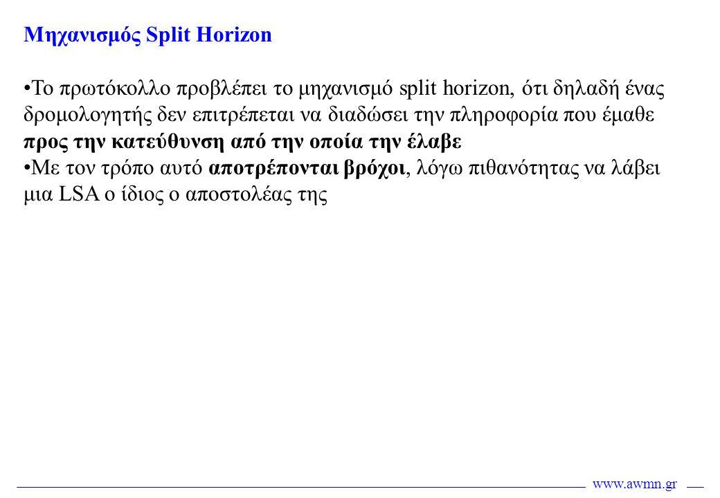 www.awmn.gr Μηχανισμός Split Horizon •Το πρωτόκολλο προβλέπει το μηχανισμό split horizon, ότι δηλαδή ένας δρομολογητής δεν επιτρέπεται να διαδώσει την