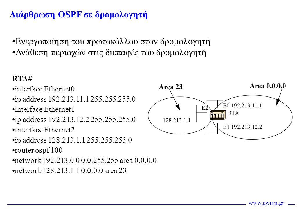 www.awmn.gr Διάρθρωση OSPF σε δρομολογητή •Ενεργοποίηση του πρωτοκόλλου στον δρομολογητή •Ανάθεση περιοχών στις διεπαφές του δρομολογητή RTA# •interfa