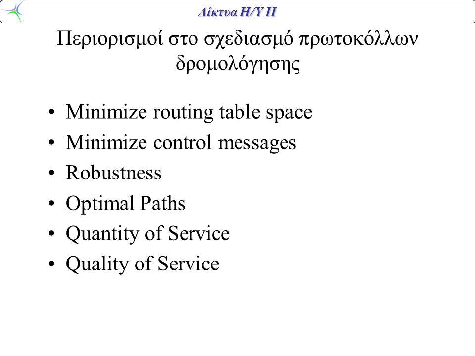 Δίκτυα Η/Υ ΙΙ Περιορισμοί στο σχεδιασμό πρωτοκόλλων δρομολόγησης •Minimize routing table space •Minimize control messages •Robustness •Optimal Paths •Quantity of Service •Quality of Service