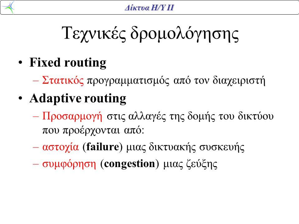 Δίκτυα Η/Υ ΙΙ Τεχνικές δρομολόγησης •Fixed routing –Στατικός προγραμματισμός από τον διαχειριστή •Adaptive routing –Προσαρμογή στις αλλαγές της δομής του δικτύου που προέρχονται από: –αστοχία (failure) μιας δικτυακής συσκευής –συμφόρηση (congestion) μιας ζεύξης