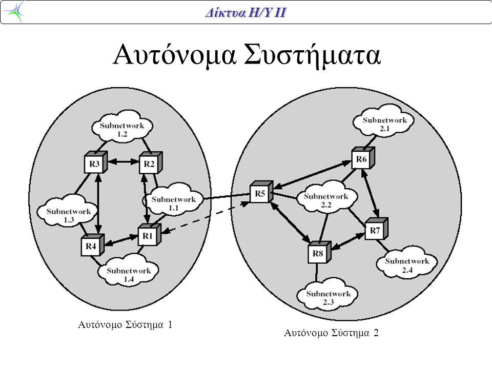 Δίκτυα Η/Υ ΙΙ Αυτόνομα Συστήματα Αυτόνομο Σύστημα 1 Αυτόνομο Σύστημα 2
