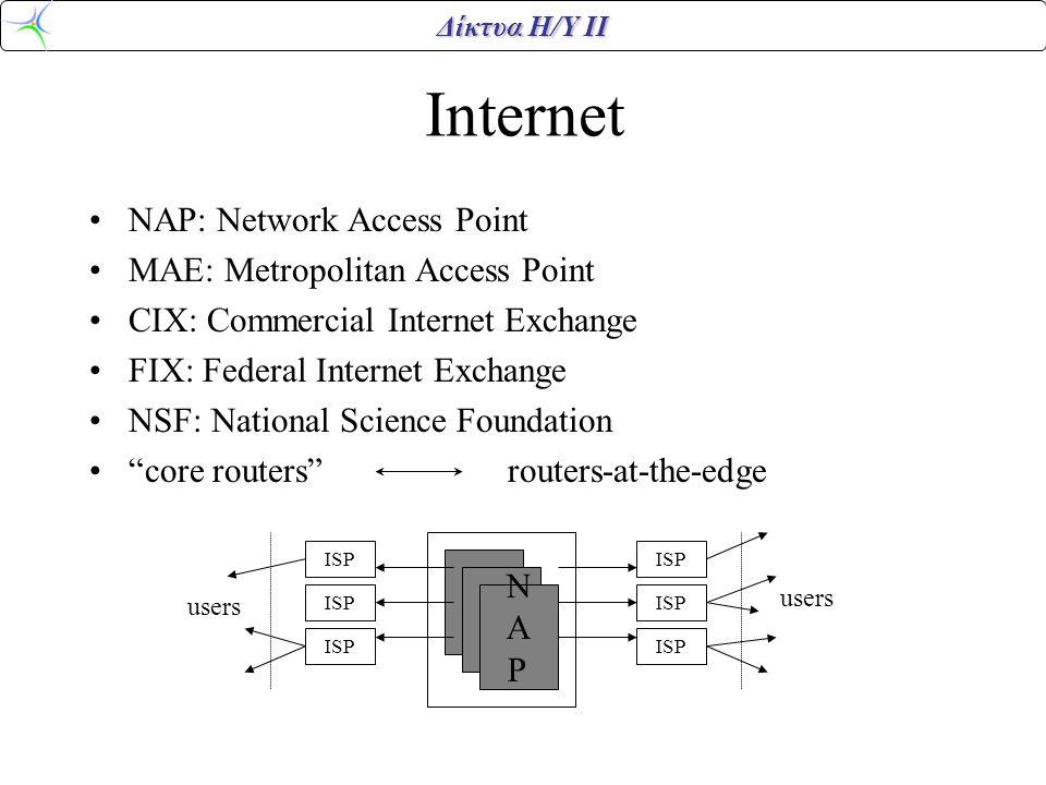 Δίκτυα Η/Υ ΙΙ Internet •NAP: Network Access Point •MAE: Metropolitan Access Point •CIX: Commercial Internet Exchange •FIX: Federal Internet Exchange •NSF: National Science Foundation • core routers routers-at-the-edge ISP users NAPNAP