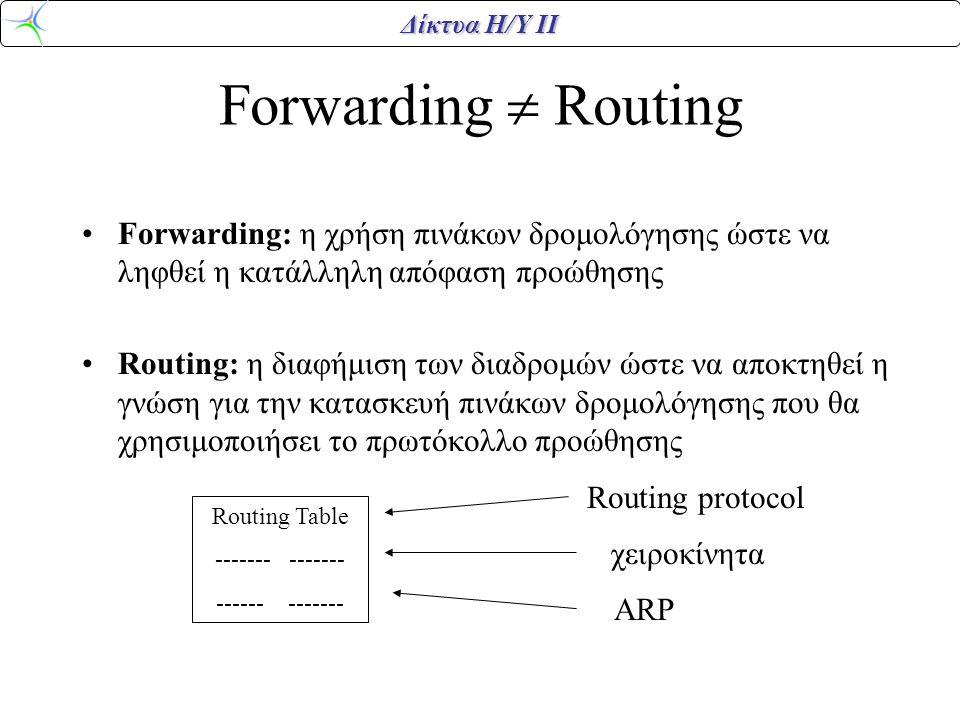 Δίκτυα Η/Υ ΙΙ Forwarding  Routing •Forwarding: η χρήση πινάκων δρομολόγησης ώστε να ληφθεί η κατάλληλη απόφαση προώθησης •Routing: η διαφήμιση των διαδρομών ώστε να αποκτηθεί η γνώση για την κατασκευή πινάκων δρομολόγησης που θα χρησιμοποιήσει το πρωτόκολλο προώθησης Routing Table ------- ------ ------- Routing protocol χειροκίνητα ARP
