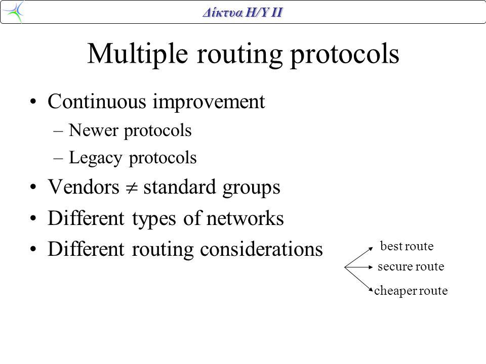 Δίκτυα Η/Υ ΙΙ Multiple routing protocols •Continuous improvement –Newer protocols –Legacy protocols •Vendors  standard groups •Different types of networks •Different routing considerations best route secure route cheaper route