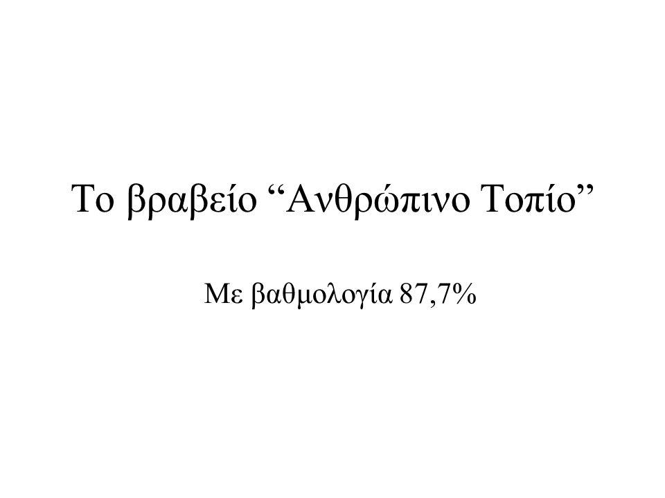"""Το βραβείο """"Ανθρώπινο Τοπίο"""" Με βαθμολογία 87,7%"""