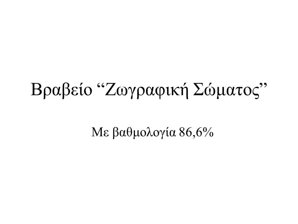 """Βραβείο """"Ζωγραφική Σώματος"""" Με βαθμολογία 86,6%"""