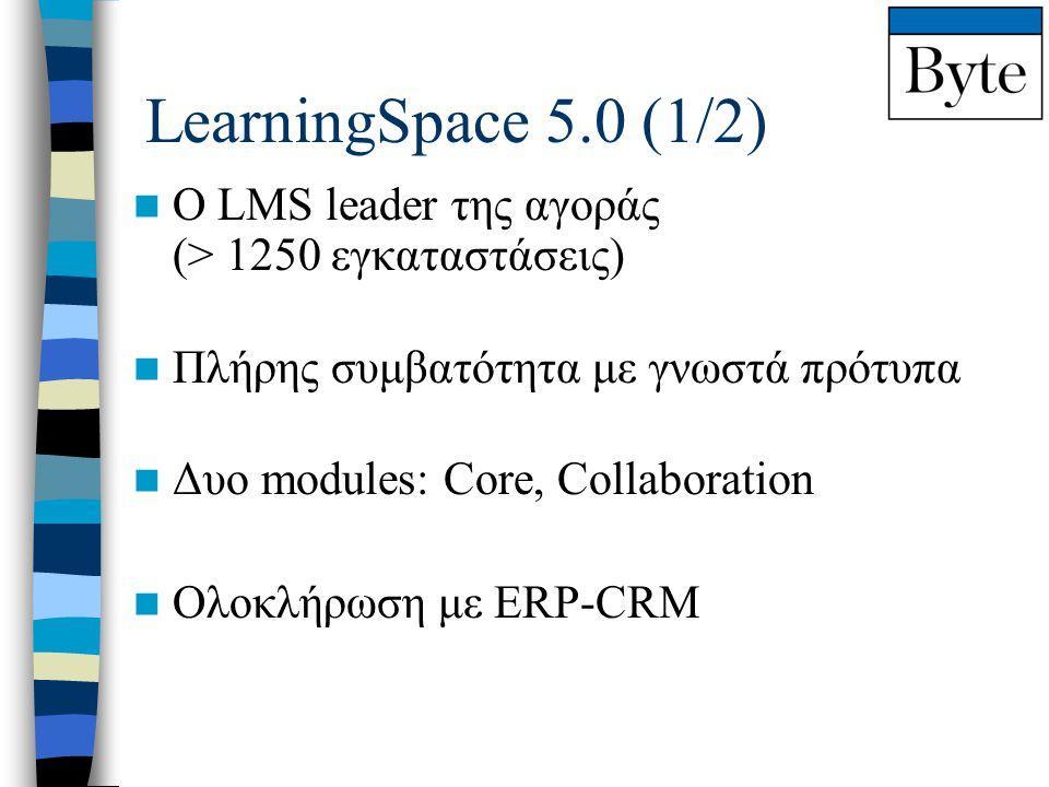 LearningSpace 5.0 (1/2)  Ο LMS leader της αγοράς (> 1250 εγκαταστάσεις)  Πλήρης συμβατότητα με γνωστά πρότυπα  Δυο modules: Core, Collaboration  Ο