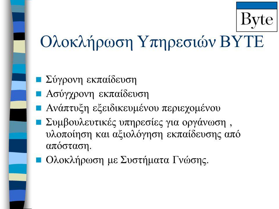 Ολοκλήρωση Υπηρεσιών ΒΥΤΕ  Σύγρονη εκπαίδευση  Ασύγχρονη εκπαίδευση  Ανάπτυξη εξειδικευμένου περιεχομένου  Συμβουλευτικές υπηρεσίες για οργάνωση,