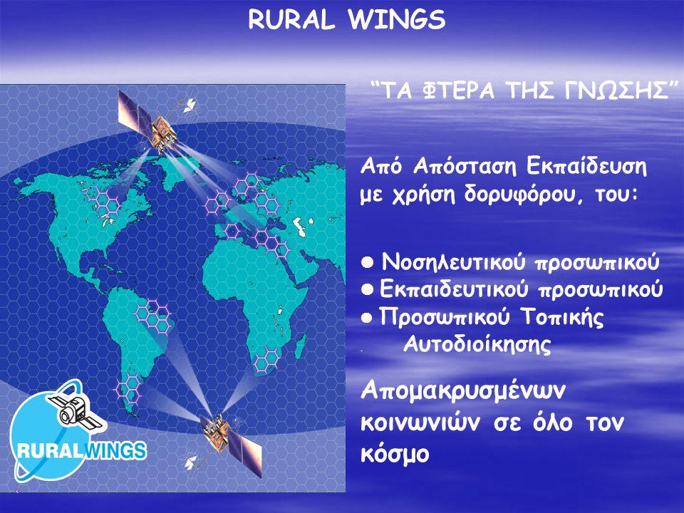 RURAL WINGS Από Απόσταση Εκπαίδευση με χρήση δορυφόρου, του:  Νοσηλευτικού προσωπικού  Εκπαιδευτικού προσωπικού  Προσωπικού Τοπικής. Αυτοδιοίκησης