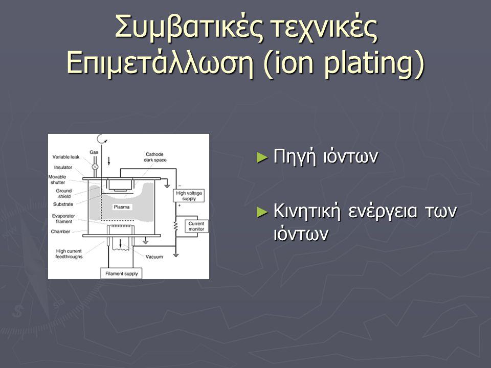 Συμβατικές τεχνικές Επιμετάλλωση (ion plating) ► Πηγή ιόντων ► Κινητική ενέργεια των ιόντων