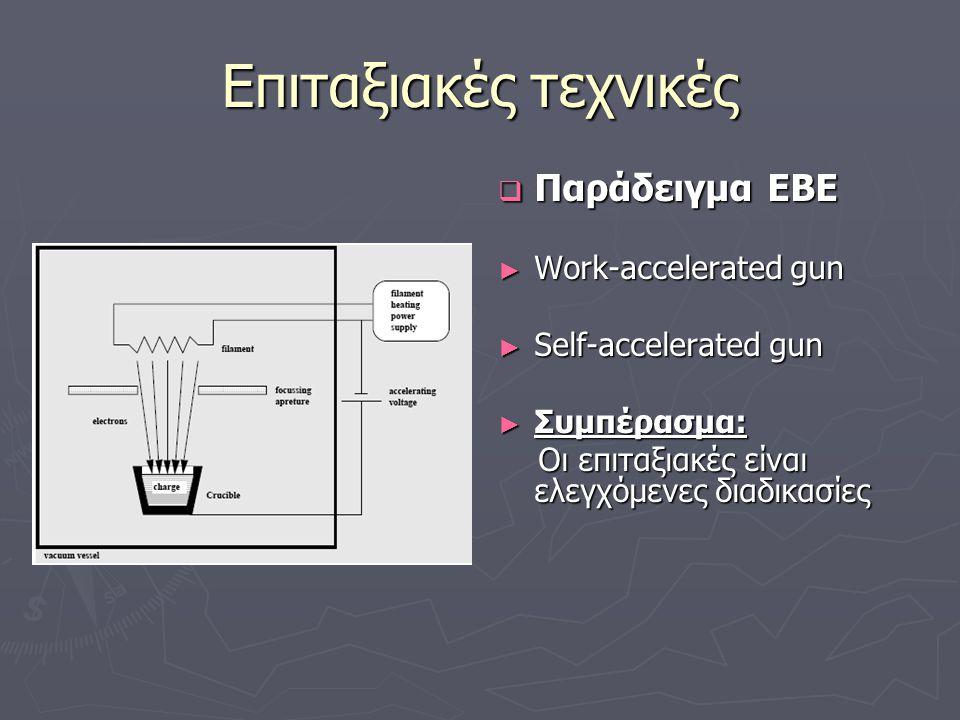 Επιταξιακές τεχνικές  Παράδειγμα EΒΕ ► Work-accelerated gun ► Self-accelerated gun ► Συμπέρασμα: Οι επιταξιακές είναι ελεγχόμενες διαδικασίες