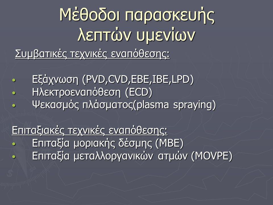 Μέθοδοι παρασκευής λεπτών υμενίων Συμβατικές τεχνικές εναπόθεσης: Συμβατικές τεχνικές εναπόθεσης: • Εξάχνωση (PVD,CVD,EBE,IBE,LPD) • Ηλεκτροεναπόθεση