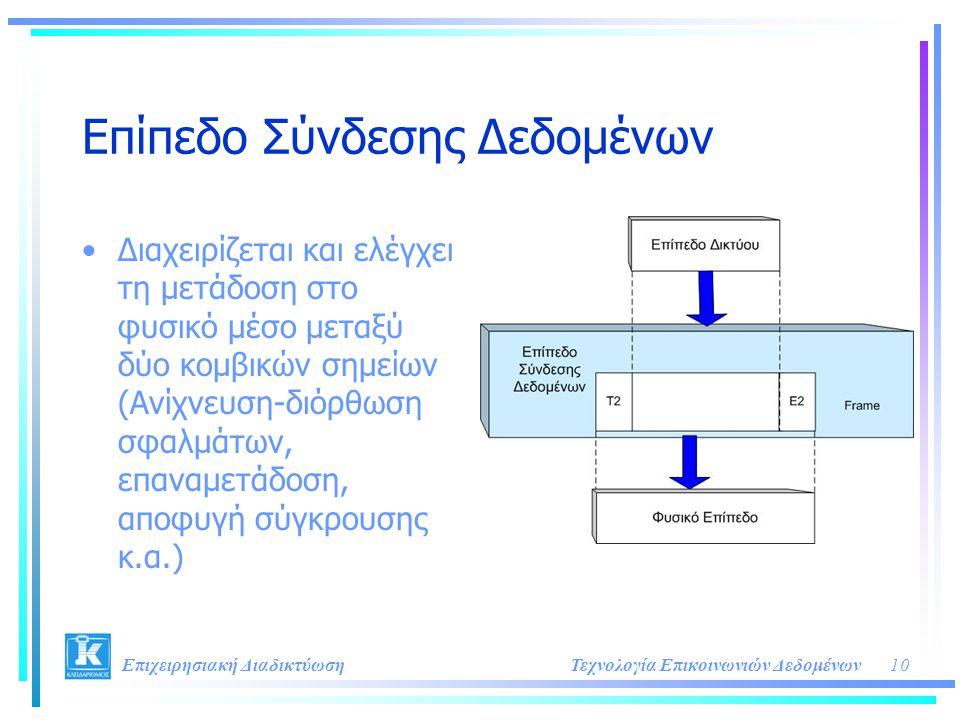 10Τεχνολογία Επικοινωνιών Δεδομένων Επιχειρησιακή Διαδικτύωση Επίπεδο Σύνδεσης Δεδομένων •Διαχειρίζεται και ελέγχει τη μετάδοση στο φυσικό μέσο μεταξύ