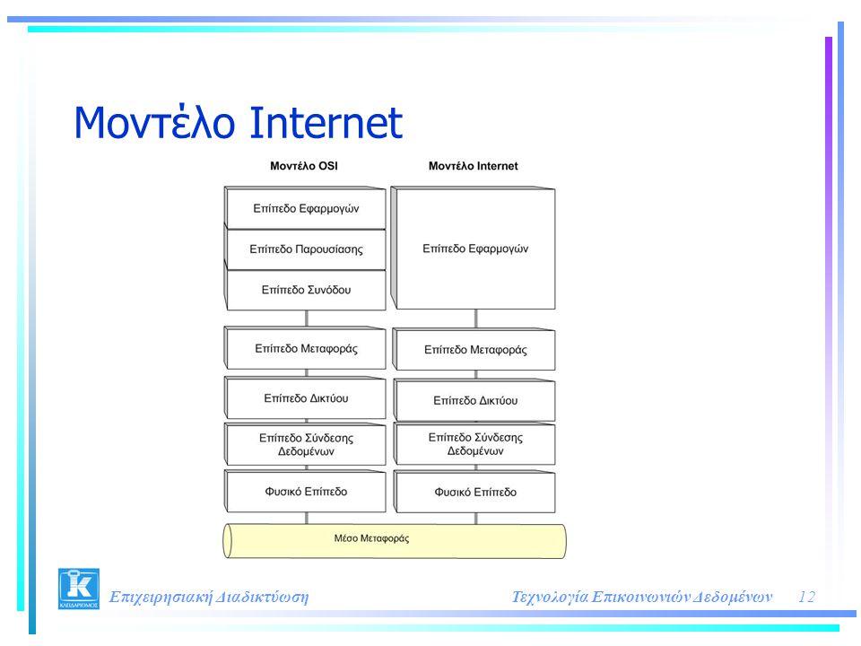 12Τεχνολογία Επικοινωνιών Δεδομένων Επιχειρησιακή Διαδικτύωση Μοντέλο Internet