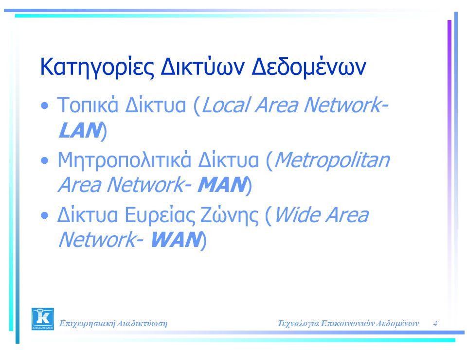 4Τεχνολογία Επικοινωνιών Δεδομένων Επιχειρησιακή Διαδικτύωση Κατηγορίες Δικτύων Δεδομένων •Τοπικά Δίκτυα (Local Area Network- LAN) •Μητροπολιτικά Δίκτ