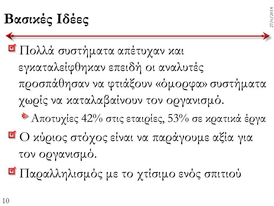 10 27/6/2014 Βασικές Ιδέες Πολλά συστήματα απέτυχαν και εγκαταλείφθηκαν επειδή οι αναλυτές προσπάθησαν να φτιάξουν «όμορφα» συστήματα χωρίς να καταλαβ