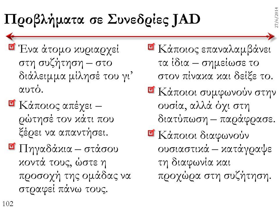 102 27/6/2014 Προβλήματα σε Συνεδρίες JAD Ένα άτομο κυριαρχεί στη συζήτηση – στο διάλειμμα μίλησέ του γι' αυτό. Κάποιος απέχει – ρώτησέ τον κάτι που ξ