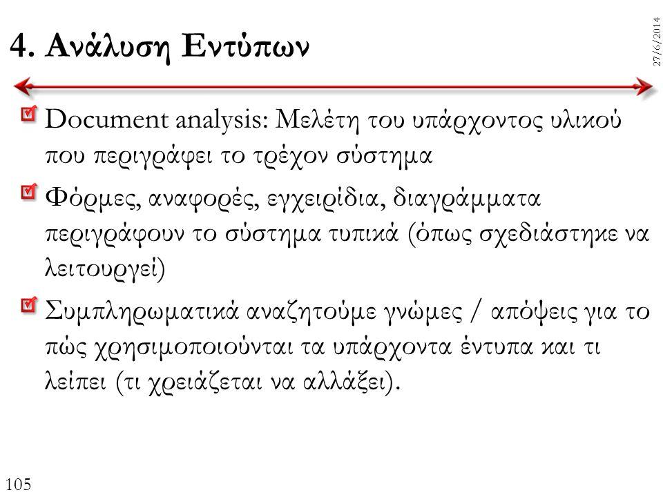 105 27/6/2014 4. Ανάλυση Εντύπων Document analysis: Μελέτη του υπάρχοντος υλικού που περιγράφει το τρέχον σύστημα Φόρμες, αναφορές, εγχειρίδια, διαγρά