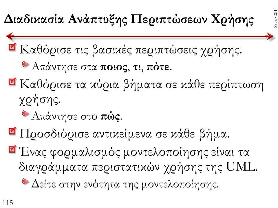 115 27/6/2014 Διαδικασία Ανάπτυξης Περιπτώσεων Χρήσης Καθόρισε τις βασικές περιπτώσεις χρήσης. Απάντησε στα ποιος, τι, πότε. Καθόρισε τα κύρια βήματα