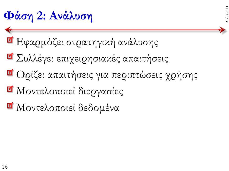 16 27/6/2014 Φάση 2: Ανάλυση Εφαρμόζει στρατηγική ανάλυσης Συλλέγει επιχειρησιακές απαιτήσεις Ορίζει απαιτήσεις για περιπτώσεις χρήσης Μοντελοποιεί δι