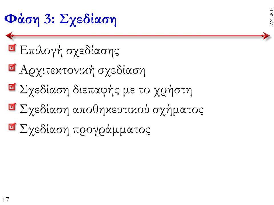 17 27/6/2014 Επιλογή σχεδίασης Αρχιτεκτονική σχεδίαση Σχεδίαση διεπαφής με το χρήστη Σχεδίαση αποθηκευτικού σχήματος Σχεδίαση προγράμματος Φάση 3: Σχε