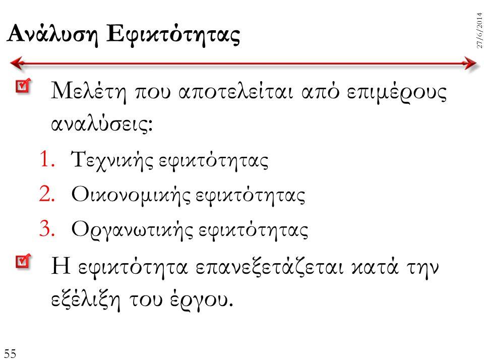 55 27/6/2014 Ανάλυση Εφικτότητας Μελέτη που αποτελείται από επιμέρους αναλύσεις: 1. Τεχνικής εφικτότητας 2. Οικονομικής εφικτότητας 3. Οργανωτικής εφι