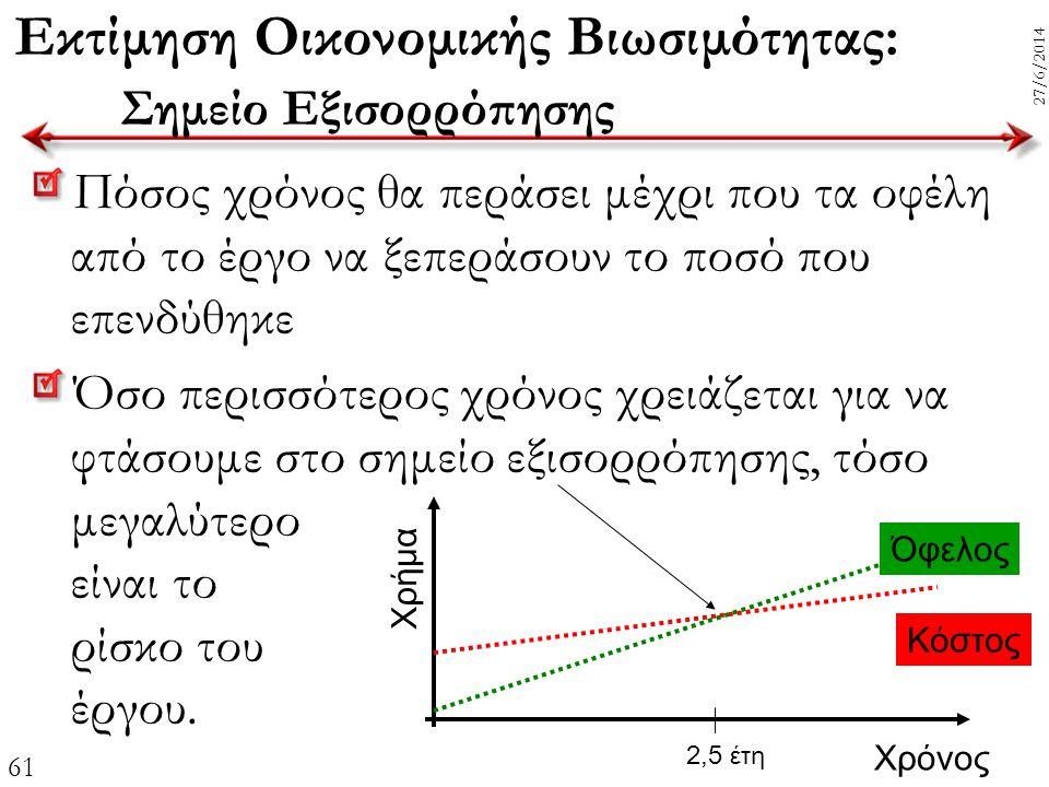61 27/6/2014 Εκτίμηση Οικονομικής Βιωσιμότητας: Σημείο Εξισορρόπησης Πόσος χρόνος θα περάσει μέχρι που τα οφέλη από το έργο να ξεπεράσουν το ποσό που
