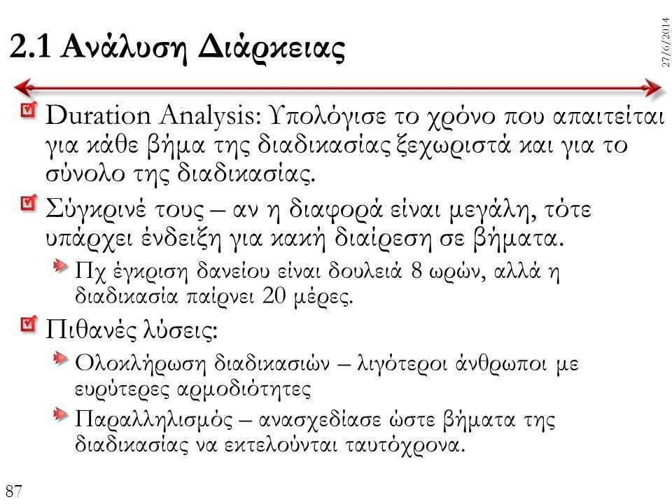 87 27/6/2014 2.1 Ανάλυση Διάρκειας Duration Analysis: Υπολόγισε το χρόνο που απαιτείται για κάθε βήμα της διαδικασίας ξεχωριστά και για το σύνολο της