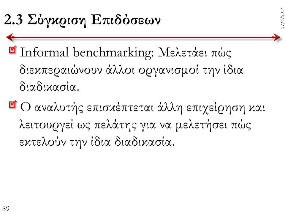 89 27/6/2014 2.3 Σύγκριση Επιδόσεων Informal benchmarking: Μελετάει πώς διεκπεραιώνουν άλλοι οργανισμοί την ίδια διαδικασία. Ο αναλυτής επισκέπτεται ά