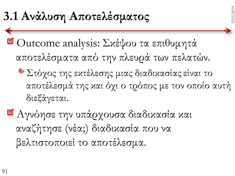 91 27/6/2014 3.1 Ανάλυση Αποτελέσματος Outcome analysis: Σκέψου τα επιθυμητά αποτελέσματα από την πλευρά των πελατών. Στόχος της εκτέλεσης μιας διαδικ