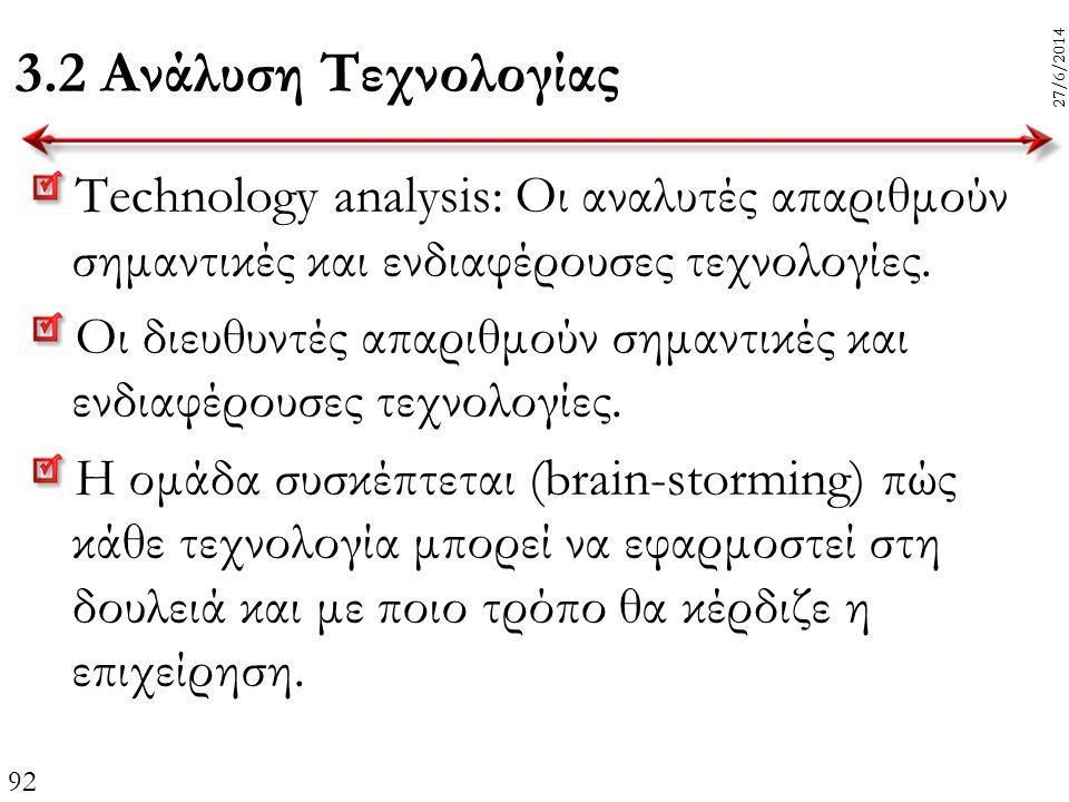 92 27/6/2014 3.2 Ανάλυση Τεχνολογίας Technology analysis: Οι αναλυτές απαριθμούν σημαντικές και ενδιαφέρουσες τεχνολογίες. Οι διευθυντές απαριθμούν ση