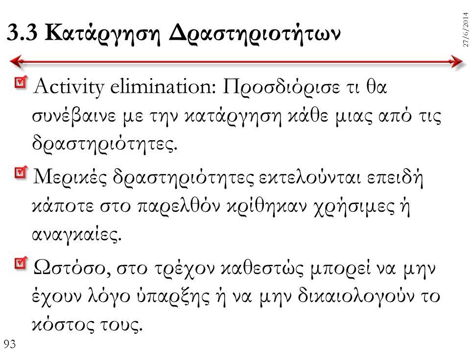 93 27/6/2014 3.3 Κατάργηση Δραστηριοτήτων Activity elimination: Προσδιόρισε τι θα συνέβαινε με την κατάργηση κάθε μιας από τις δραστηριότητες. Μερικές