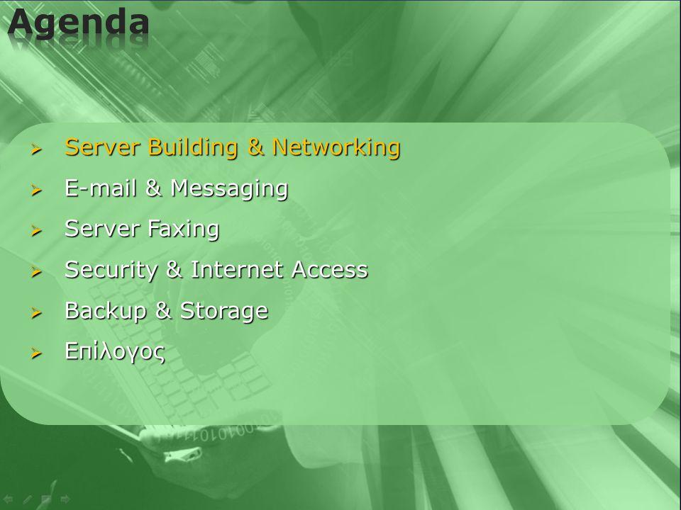   Network Antivirus  Network Antivirus για όλους τους Server  File Server, Exchange Server & ISA Server modules  Αυτόματο install & updates για τα clients  Καθημερινές αυτόματες ενημερώσεις μέσω internet