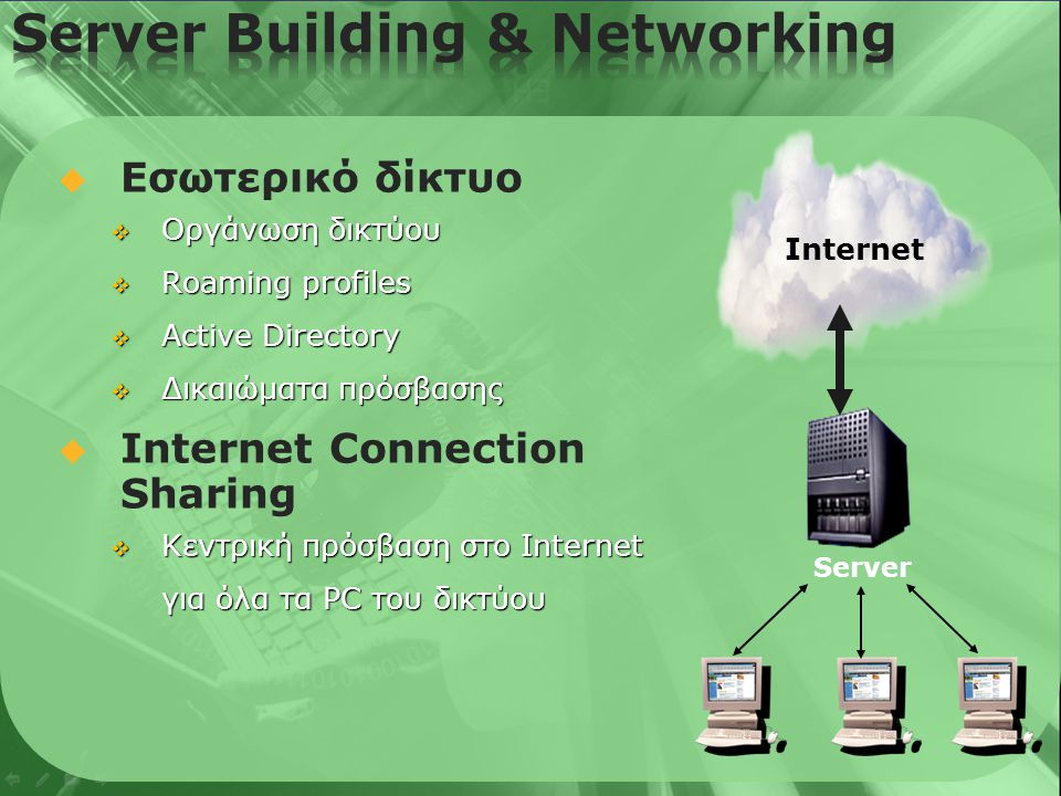  Server Building & Networking  E-mail & Messaging  Server Faxing  Security & Internet Access  Backup & Storage  Επίλογος