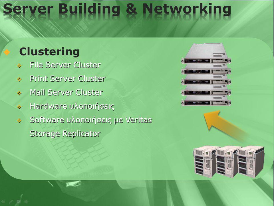   Backup / Storage λύσεις  Χρήση των Software προϊόντων της Veritas  Hardware προϊόντα της On-Stream  Remote backup Servers  Disk Arrays  Disk Imaging με PowerQuest Deploy Center