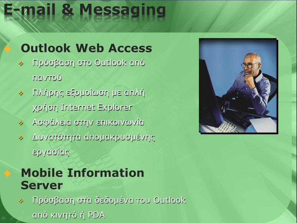   Outlook Web Access  Πρόσβαση στο Outlook από παντού  Πλήρης εξομοίωση με απλή χρήση Internet Explorer  Ασφάλεια στην επικοινωνία  Δυνατότητα απομακρυσμένης εργασίας  Mobile Information Server  Πρόσβαση στα δεδομένα του Outlook από κινητό ή PDA