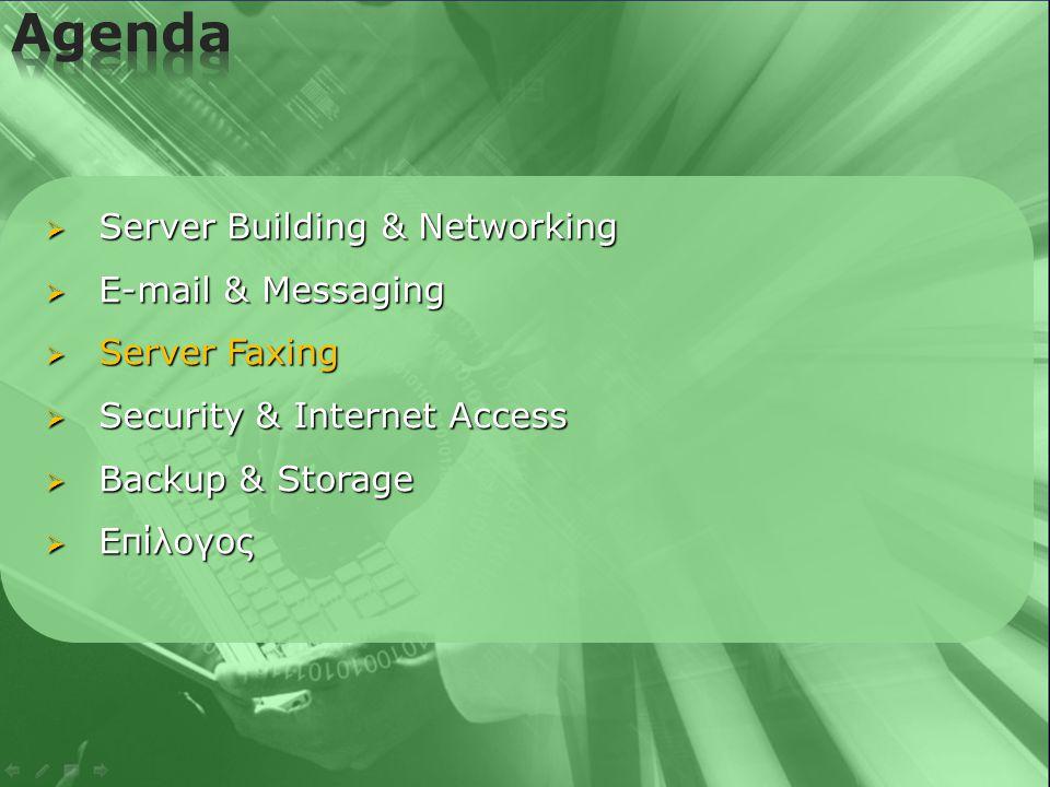   Κεντρική Αποστολή / Λήψη Fax  Αποστολή Fax από κάθε PC του δικτύου  Χρονικός προγραμματισμός αποστολής  Full reporting  Αυτόματη εκτύπωση ληφθέντων Fax