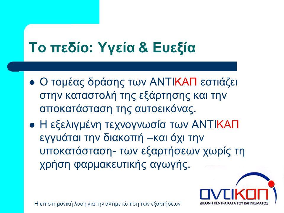Το πεδίο: Υγεία & Ευεξία  Ο τομέας δράσης των ΑΝΤΙΚΑΠ εστιάζει στην καταστολή της εξάρτησης και την αποκατάσταση της αυτοεικόνας.  Η εξελιγμένη τεχν