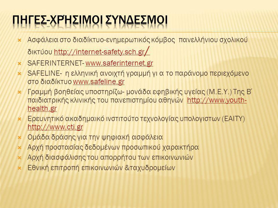  Ασφάλεια στο διαδίκτυο-ενημερωτικός κόμβος πανελλήνιου σχολικού δικτύου http://internet-safety.sch.gr /http://internet-safety.sch.gr /  SAFERINTERN